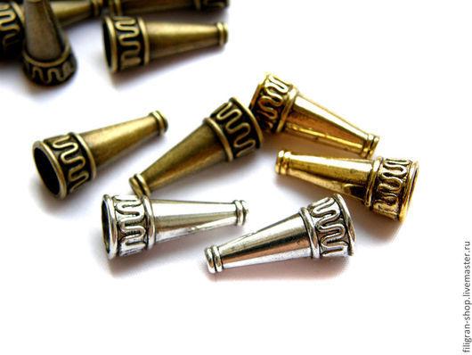 Для украшений ручной работы. Ярмарка Мастеров - ручная работа. Купить Конусы-концевики 22х9 мм, серебро, золото, бронза. Handmade.