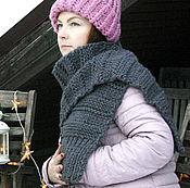 Аксессуары handmade. Livemaster - original item Scarf long chunky knit Marengo stripes. Handmade.
