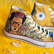 """Обувь ручной работы. Ярмарка Мастеров - ручная работа Кеды """"Моя Фридуччи"""" 36 размер, кеды Конверс Converse с росписью.. Handmade."""