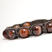 Украшения handmade. Livemaster - original item Shamballa bracelet made of leather with Brazilian sardonyx. Handmade.