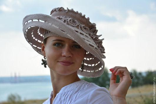 """Шляпы ручной работы. Ярмарка Мастеров - ручная работа. Купить Шляпа """"Туман"""". Handmade. Шляпа с большими полями, подарок"""