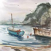 """Картины и панно ручной работы. Ярмарка Мастеров - ручная работа """"Бирюзовая лодка"""". Handmade."""