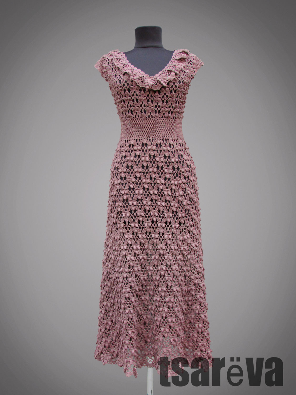 Crochet dress Marinella. Romantic beige handmade lace crochet dress, Dresses, Odessa,  Фото №1