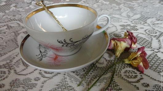 """Винтажная посуда. Ярмарка Мастеров - ручная работа. Купить Чайная пара """"Дулево"""".. Handmade. Белый, дулевский фарфор, фарфор"""