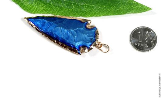 Для украшений ручной работы. Ярмарка Мастеров - ручная работа. Купить Подвеска титан сине-голубой, стрела. Handmade. Друза