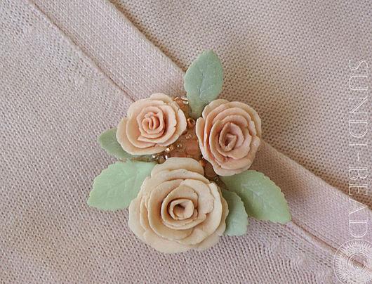 Броши ручной работы. Ярмарка Мастеров - ручная работа. Купить Брошь Розы фарфор. Handmade. Бледно-розовый, брошь-цветок