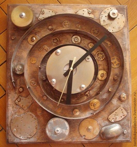 """Часы для дома ручной работы. Ярмарка Мастеров - ручная работа. Купить Часы """"Бесконечность Времени"""". Handmade. Коричневый, стимпанк, бежевый"""