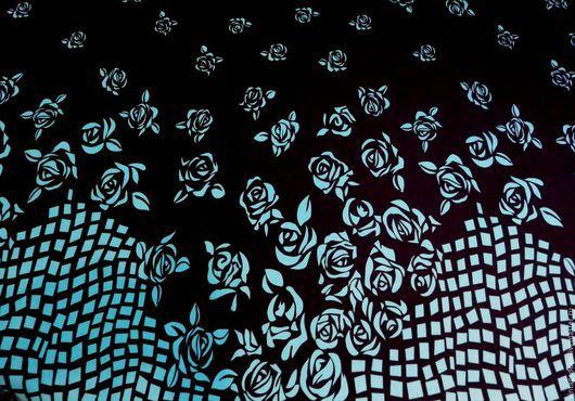 Шитье ручной работы. Ярмарка Мастеров - ручная работа. Купить Изысканное джерси - бирюзовые розы и калейдоскоп квадратиков. Handmade. Комбинированный