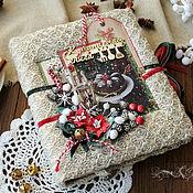 """Книги для рецептов ручной работы. Ярмарка Мастеров - ручная работа Книга рецептов """"Зимняя"""" кулинарный бежевый красный новый год. Handmade."""