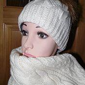 шапка и шарф зимний комплект