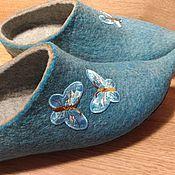 Обувь ручной работы. Ярмарка Мастеров - ручная работа Бирюзовые бабочки домашние тапочки разм 38-39. Handmade.