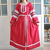 Русский стиль handmade. Livemaster - original item Dress Russian Slavic floor length linen Vesnyanka crimson. Handmade.