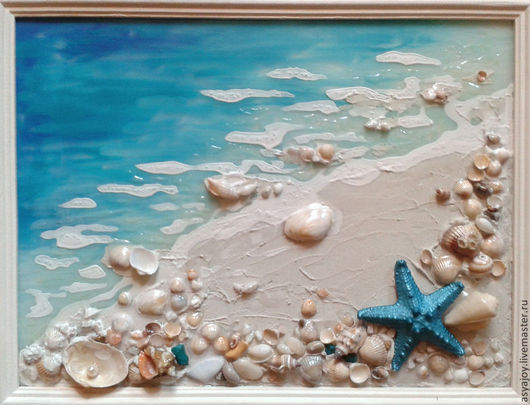 Пейзаж ручной работы. Ярмарка Мастеров - ручная работа. Купить Морское панно «Хочу на море...». Handmade. Бирюзовый, ракушки
