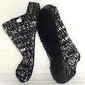 Обувь ручной работы. Ярмарка Мастеров - ручная работа Тапочки-чуни вязаные  Бело-черные, р.43. Handmade.