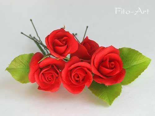 Свадебные украшения ручной работы. Ярмарка Мастеров - ручная работа. Купить Шпильки с красными розочками для свадебной прически. Handmade. Красный