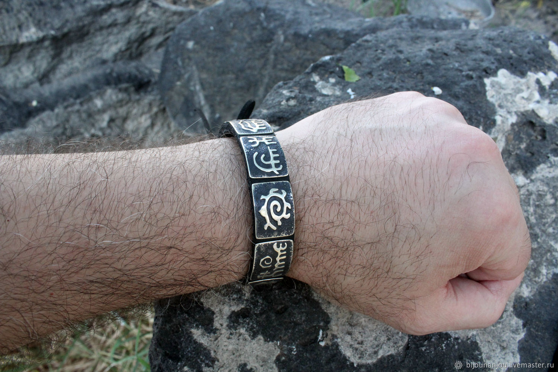 Men's, women's leather bracelet with silver inserts RO0004, Bead bracelet, Yerevan,  Фото №1