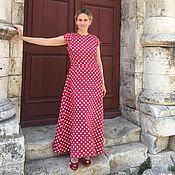 Платья ручной работы. Ярмарка Мастеров - ручная работа Красное платье в горошек из льна. Handmade.