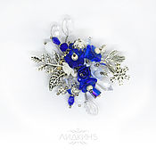 Украшения handmade. Livemaster - original item Brooch blue and white