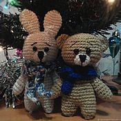 Куклы и игрушки handmade. Livemaster - original item Knitted Bunny and Bear the scarves (dog, cat). Handmade.