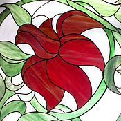 Для дома и интерьера handmade. Livemaster - original item The Scarlet Flowers. Stained glass. Handmade.