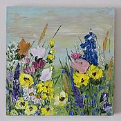 Картины и панно handmade. Livemaster - original item Bright wild flowers sunrise buy painting yellow. Handmade.
