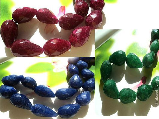 Бусины природного рубина,изумруда и сапфира в форме капли из Индии ручной огранки.