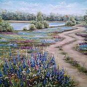 Картины и панно handmade. Livemaster - original item Oil painting landscape Road to the river. Handmade.