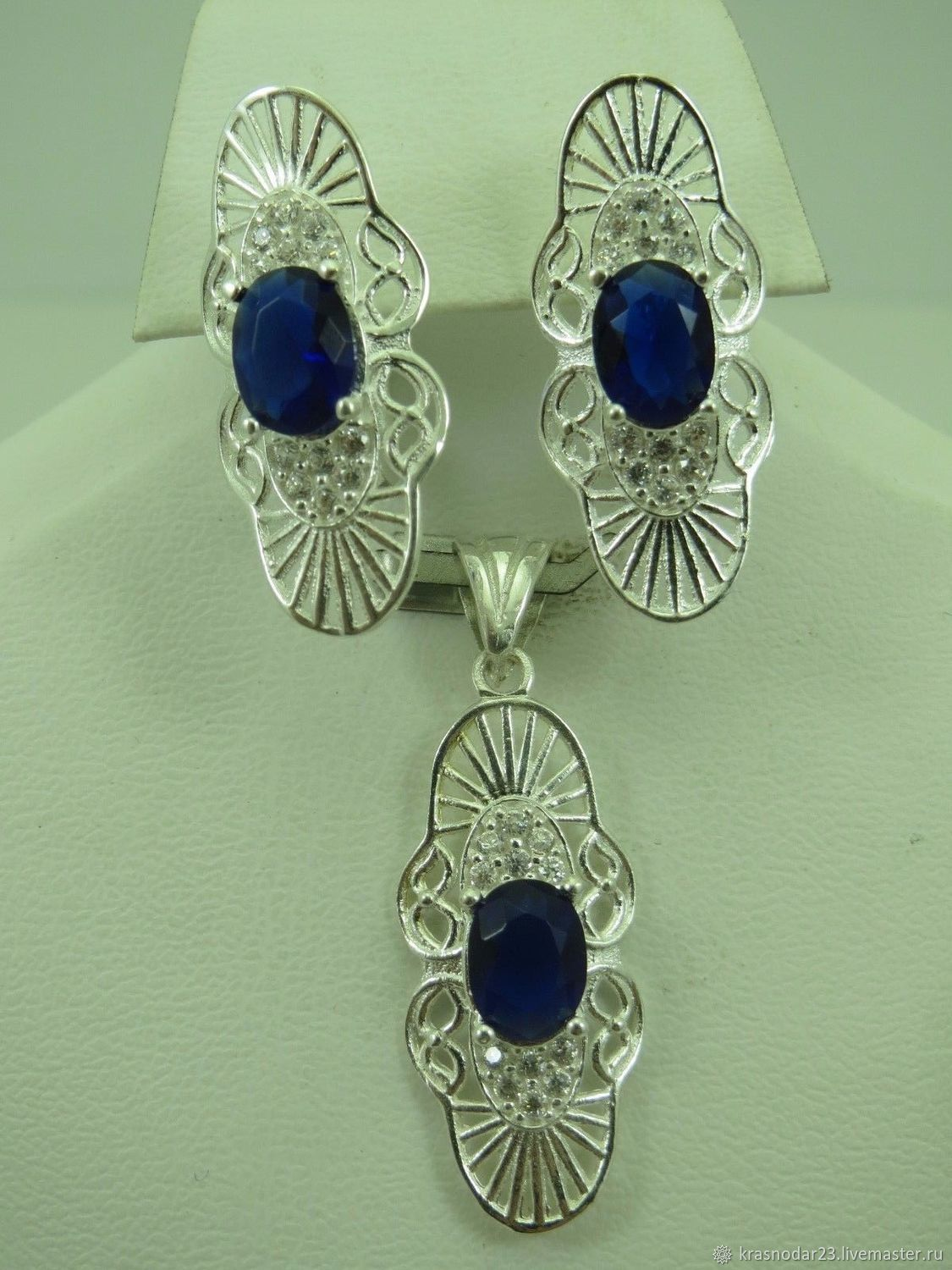 Set (earrings and pendant) made of SILVER 925 is decorated with a nano-sapphire.