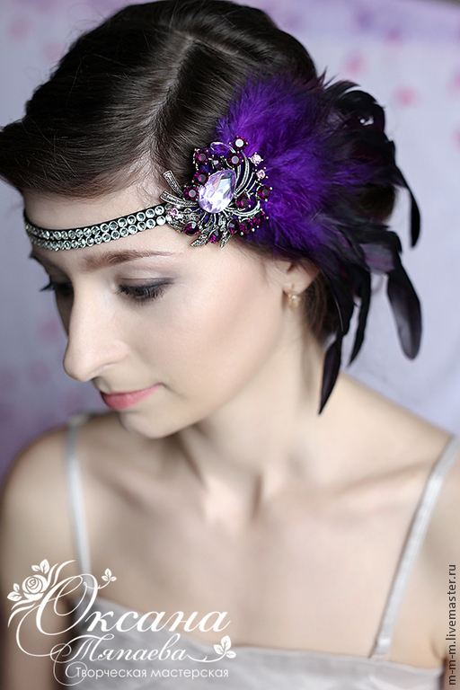 """Диадемы, обручи ручной работы. Ярмарка Мастеров - ручная работа. Купить Повязка на голову """"Violet feathers"""". Handmade. Фиолетовый"""