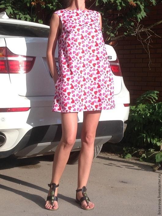 """Платья ручной работы. Ярмарка Мастеров - ручная работа. Купить Мини платье трапеция """"Сердечки"""". Handmade. Бледно-розовый, хлопок"""