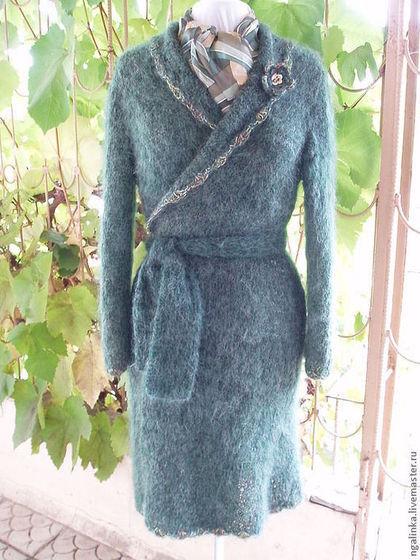 Пиджаки, жакеты ручной работы. Ярмарка Мастеров - ручная работа. Купить длинный жакет из мохера Темно-зеленый. Handmade.