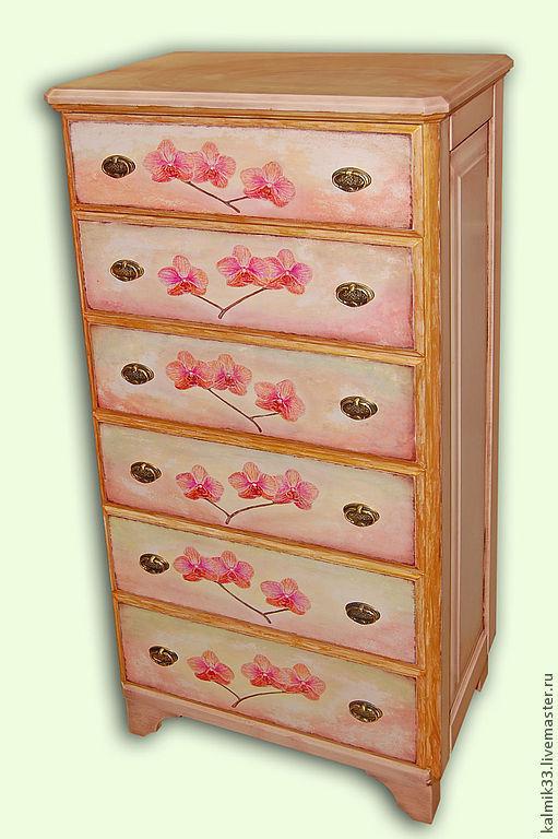 Мебель ручной работы. Ярмарка Мастеров - ручная работа. Купить Комод с орхидеями и розами, роспись. Handmade. Бежевый, комод, лак