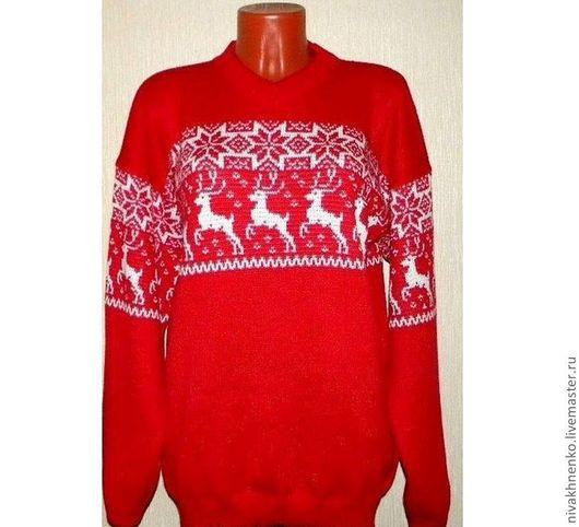 """Кофты и свитера ручной работы. Ярмарка Мастеров - ручная работа. Купить Вязаный свитер """"Рождественская сказка"""" с норвежским орнамент. Handmade."""