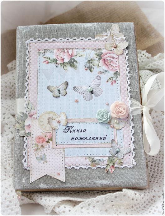Свадебные фотоальбомы ручной работы. Ярмарка Мастеров - ручная работа. Купить Свадебная книга пожеланий. Handmade. Серый, бабочки