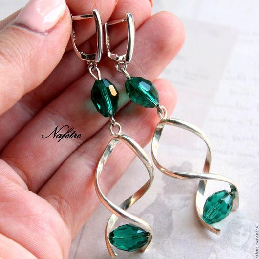 Серьги ручной работы. Ярмарка Мастеров - ручная работа. Купить Серьги изумрудные, серьги с кристаллами зеленые. Handmade. Зеленый