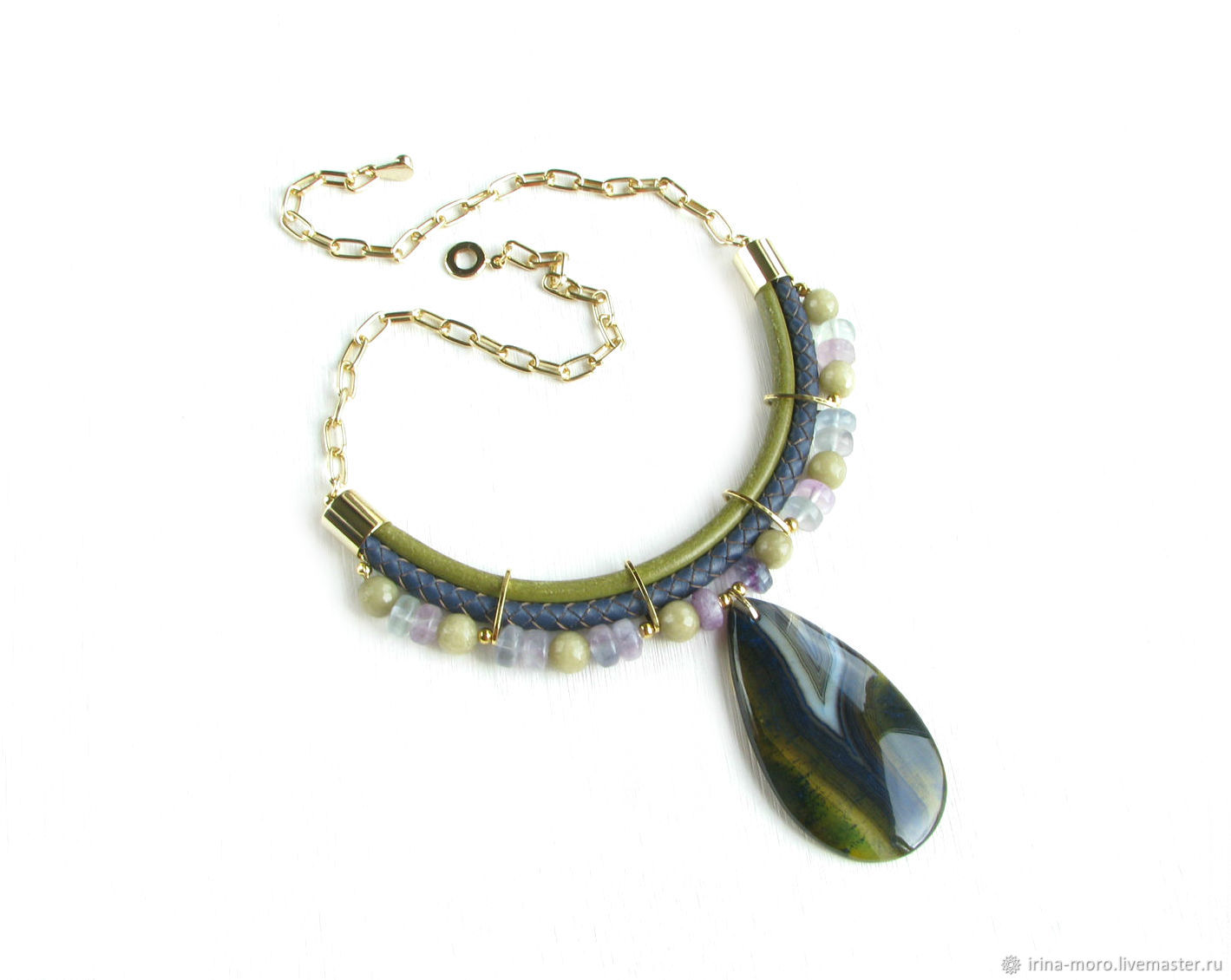 Necklace made of leather 'Forest' decoration made of agate and fluorite, pendant, Necklace, Moscow,  Фото №1