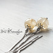 Украшения handmade. Livemaster - original item Silver broach earrings with citrine Patricia stamp 925. Handmade.