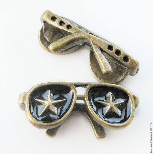 Подвески очки со звездами,  античная бронза с эмалью