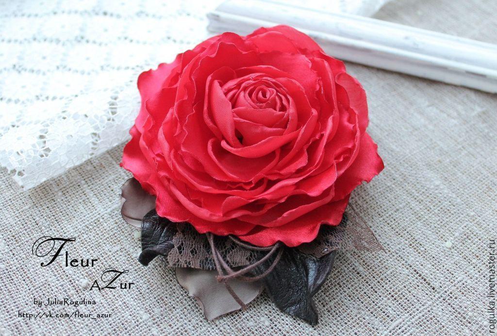 Как сделать своими руками розу-брошь из ткани