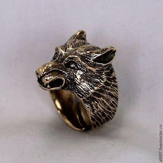 Кольца ручной работы. Ярмарка Мастеров - ручная работа. Купить Кольцо Волк. Handmade. Волк, мужской оберег, голова волка