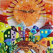 Для дома и интерьера ручной работы. Ярмарка Мастеров - ручная работа Часы настенные. Закат над Невой. Фьюзинг. Стекло. Часы из стекла.. Handmade.