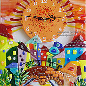 Для дома и интерьера handmade. Livemaster - original item Wall clock. Sunset over the Neva. Fusing. Glass. Watch glass. Handmade.