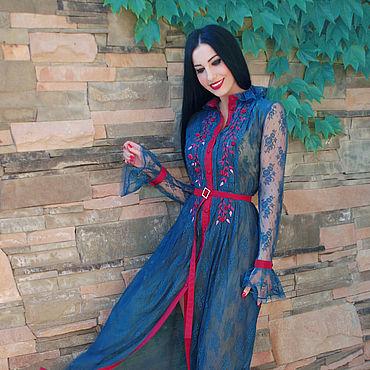 """Одежда ручной работы. Ярмарка Мастеров - ручная работа Платье с ручной вышивкой """"Бирюза - гипюр"""" нарядное платье. Handmade."""