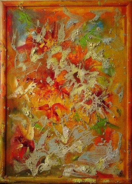 """Абстракция ручной работы. Ярмарка Мастеров - ручная работа. Купить Картина """"Необъяснимые воспоминания"""". Handmade. Рыжий, подарок, цветы, эмоции"""