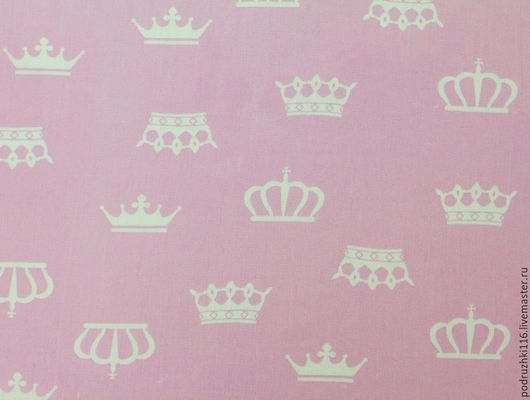 Шитье ручной работы. Ярмарка Мастеров - ручная работа. Купить Ткань Хлопок Короны на розовом. Handmade. Бязь, ткани компаньоны