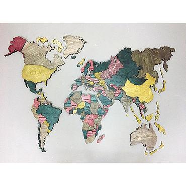 Для дома и интерьера ручной работы. Ярмарка Мастеров - ручная работа Элементы интерьера:  Карта мира из дерева обьемная. Handmade.