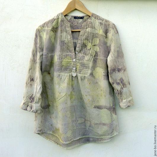 Блузки ручной работы. Ярмарка Мастеров - ручная работа. Купить Блузка-туника летняя, эко принт. Handmade. Натуральное крашение