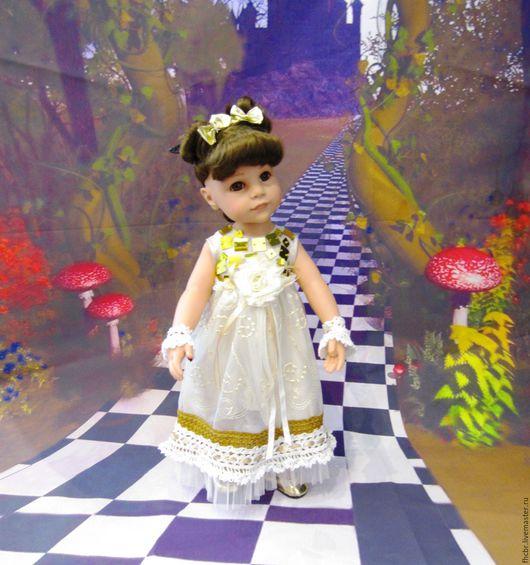 Одежда для кукол ручной работы. Ярмарка Мастеров - ручная работа. Купить Платье  из тюля. Handmade. Бежевый, искуственный шёлк