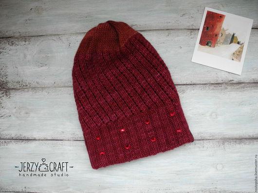 Шапка вязаная спицами шапка бини  шапка теплая шапка вязанная шапка зимняя шапка  шапочка теплая шапочка вязаная спицами шапочка вязанная шапка двойная шапка вязаная со стразами сваровски шапка шапка