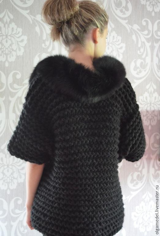 Верхняя одежда ручной работы. Ярмарка Мастеров - ручная работа. Купить Вязаное пальто. Handmade. Черный, лало кардиган, lalocardigan